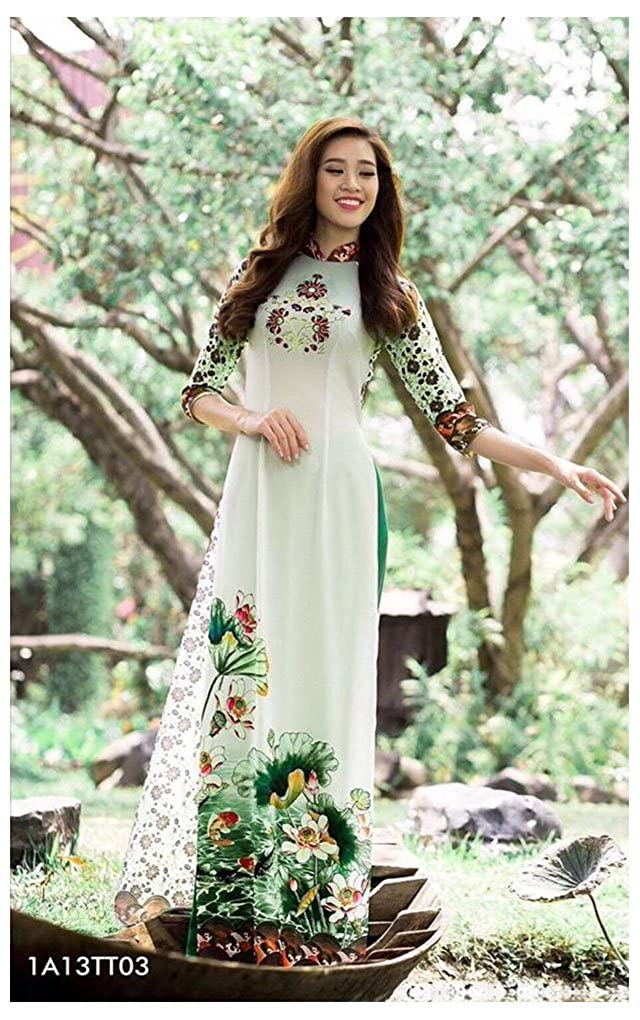 Traditional Vietnamese Long Dress Collections with Pants Ao Dai Silk 3D ADVN1465