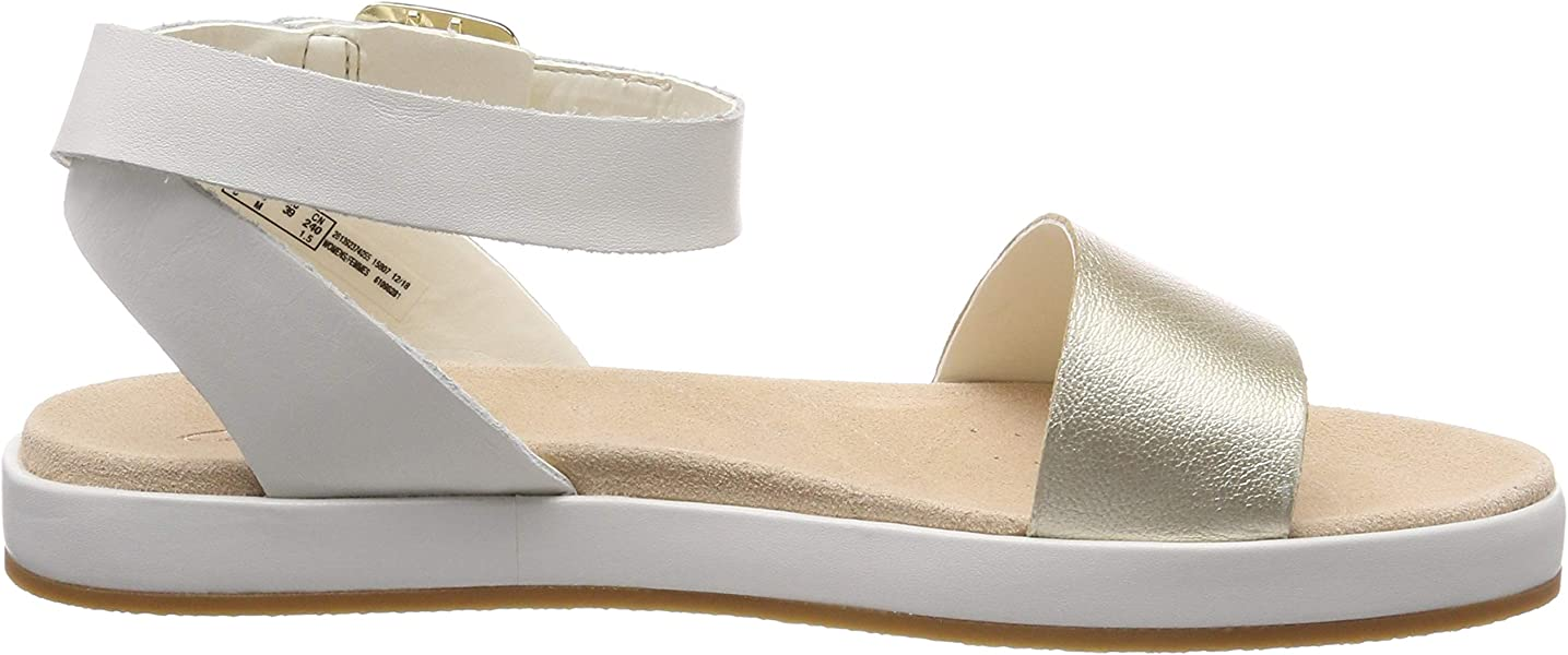 b5feae870c9 Clarks Botanic Ivy Leather Sandals in Cream Standard Fit Size 3. Back.  Double-tap to zoom