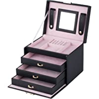 B-AIMS Large Jewellery Box Storage Organiser For Rings Necklace Watches Girls Gift Faux Leather Mirror Display Velvet…