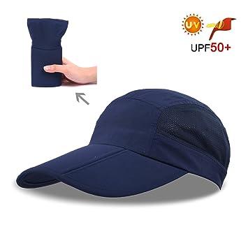 CACUSS Sombrero de Sol de Verano para Mujeres Sombrero de ala Grande Visor  Ajustable Packable UPF ... a14bc343531