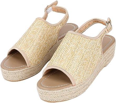 Women Hemp Sandals Beach Wedge Heels