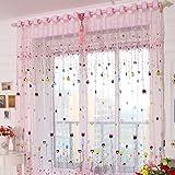 2er Set Voile Gardinen mit Ösen Kinderzimmer Vorhänge Bunte Herz Druck Pink BxH 100x200cm