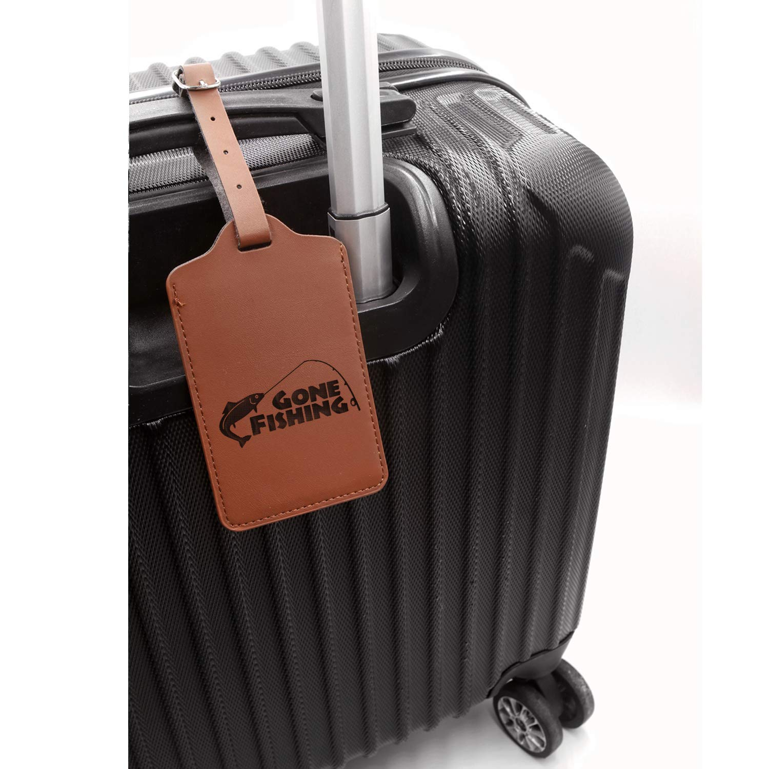 Gone Fishing Comic Engraved Synthetic Pu Leather Luggage Tag London Tan - Set Of 2 - United States Standard For Any Type Of Luggage Handcrafted By Mastercraftsmen