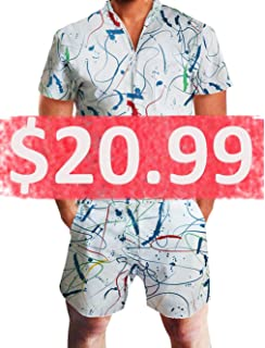 8e8f72e9836 Leapparel Men Printed One Piece Jumpsuit Button Zip Short Sleeve Pants  Rompers Overalls