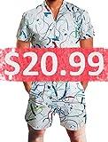 a869c1e2709d Leapparel Men Printed One Piece Jumpsuit Button Zip Short Sleeve Pants  Rompers Overalls