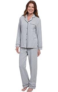 PajamaGram Womens Long Sleeve Pajamas Boyfriend Top 2 Piece Cotton PJ Set