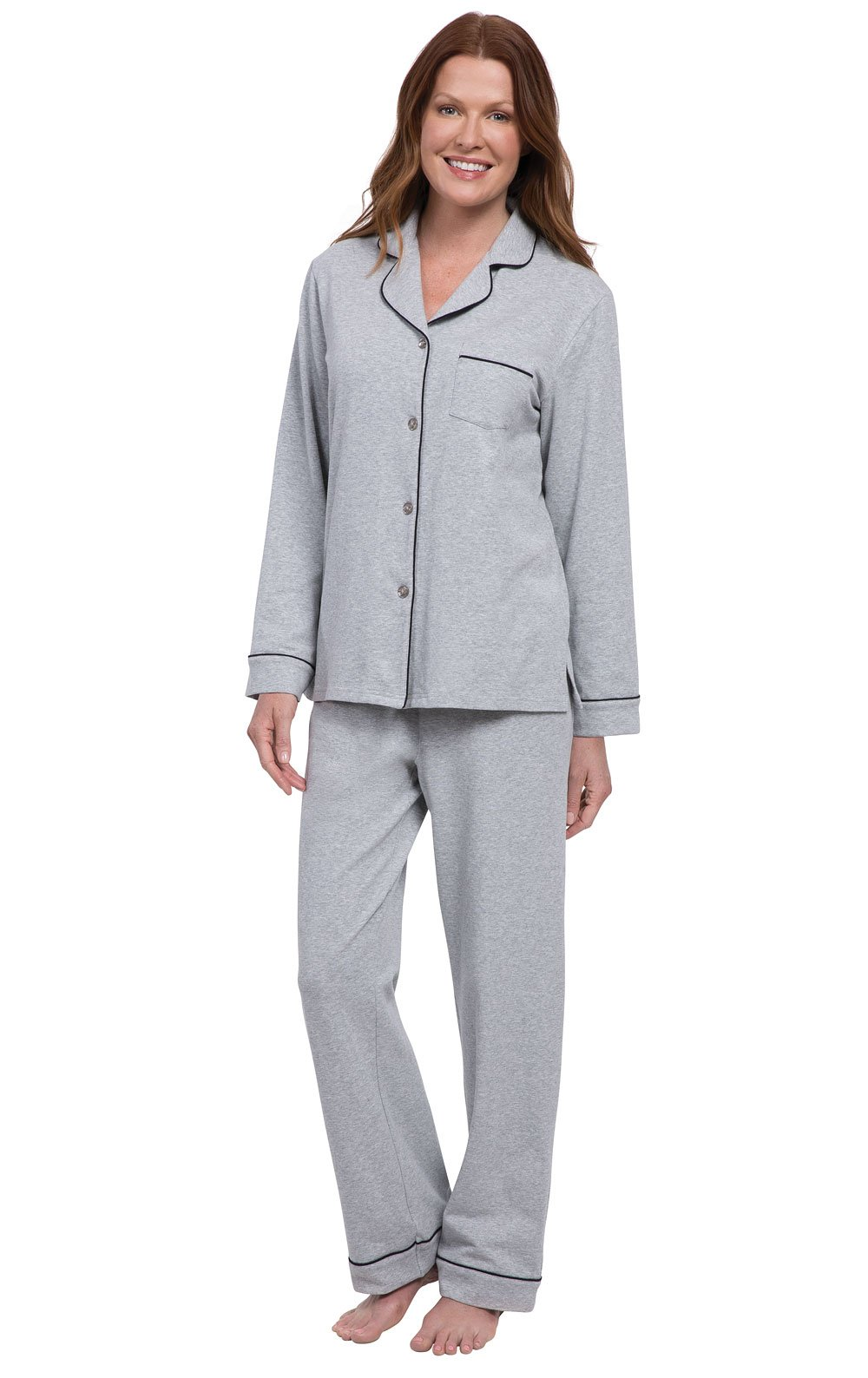 PajamaGram Womens PJs Cotton Jersey - Soft Pajamas for Women, Grey, L, 12-14