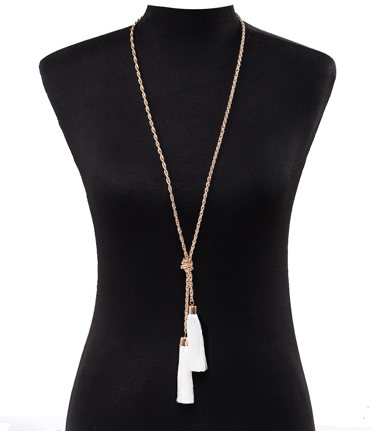 Lariatneck Long Tassel Necklace Y Shaped Adjustable Knot Chain Tassel Pendant for Women (Gold White)