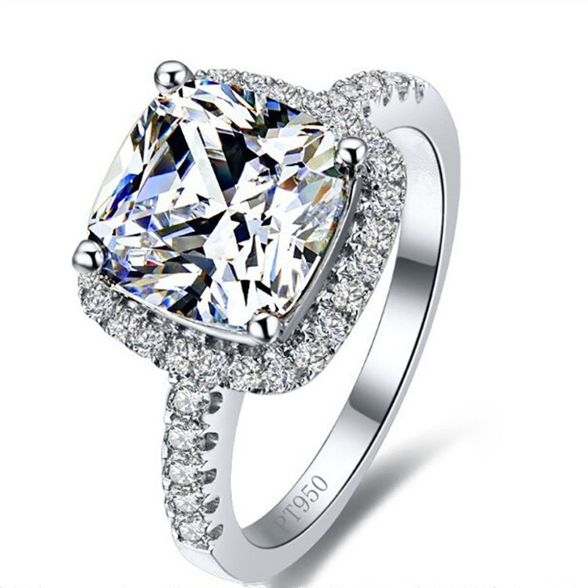 3 Carat Cushion Cut Sona Engagement Ring CZ Solitaire Engagement Ring Wedding Halo 925 Sterling Silver Erllo