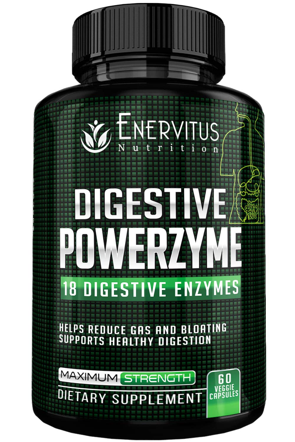 Digestive PowerZyme- Advanced Digestive Enzyme Supplements-18 Potent Enzymes Including Bromelain, Amylase, and Lactase to Relieve Indigestion, Gas, Bloating, Even Dairy and Gluten Issues! by Enervitus Nutrition