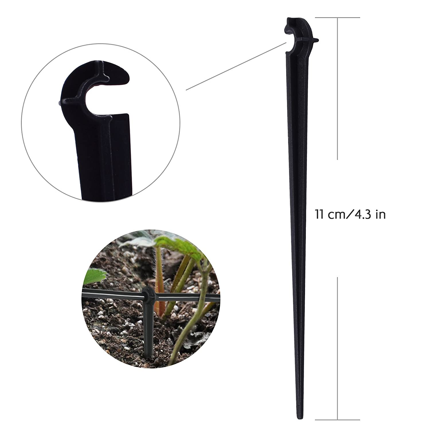 MIXC 100 Pack Plastic Garden Support Stakes for 1//4-inch Drip Irrigation Kits Tubing Hose