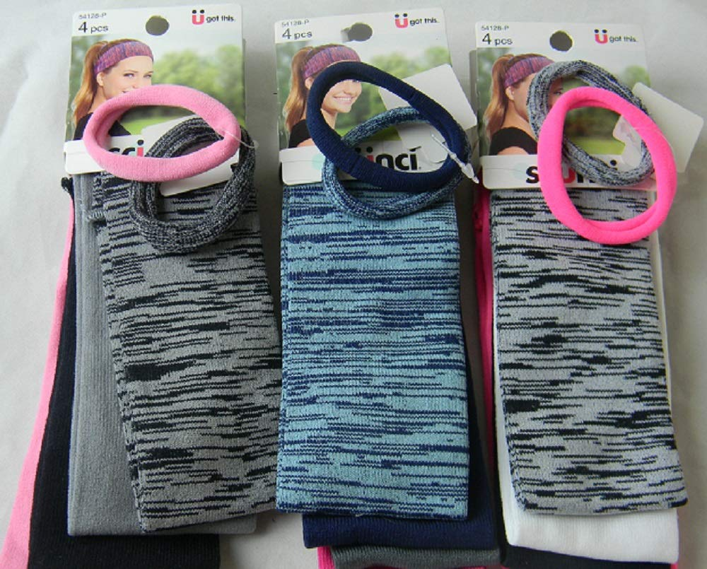 2-Pack Scunci Everyday /& Active Multi-Wear Headband 1 Pink /& 1 Hot Pink