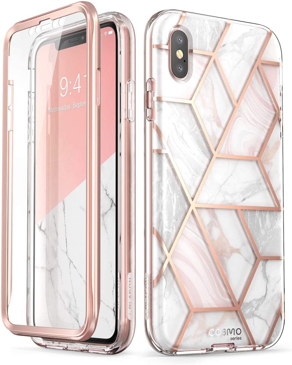 i-Blason Cosmo Full-Body Case for iPhone Xs/ iPhone X Case 2018 Release, Marble, 5.8""