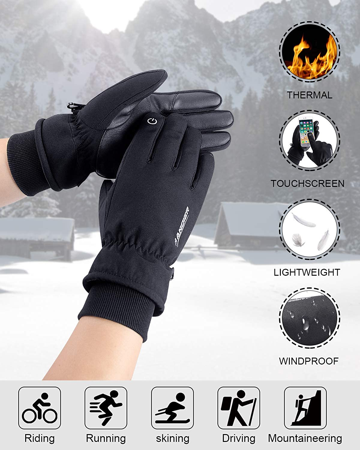 coskefy Winter Thermal Gloves Men Women Windproof Touchscreen Thinsulate...