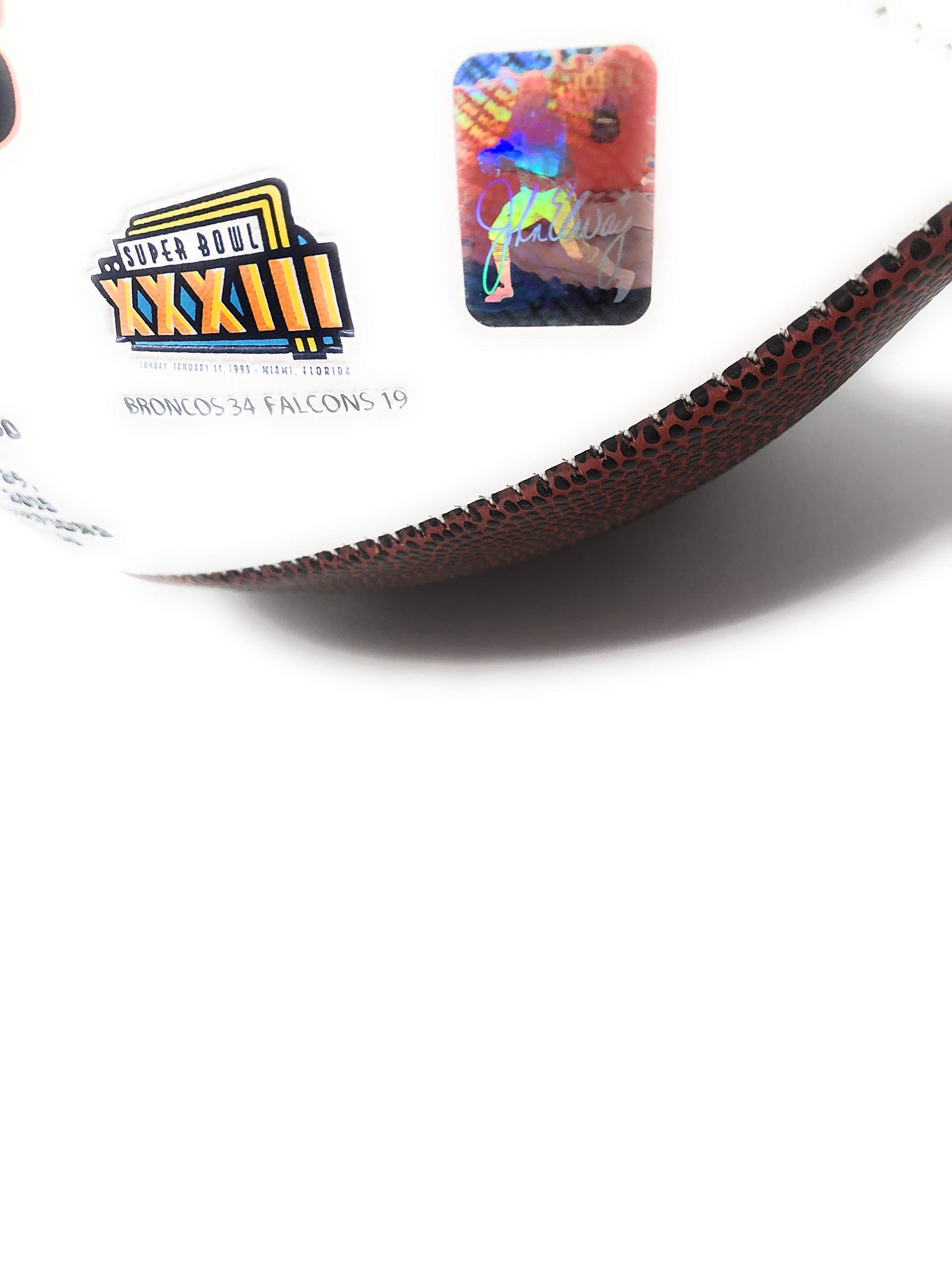John Elway Denver Broncos Signed Autograph Embroidered Logo Football Elway Player Hologram