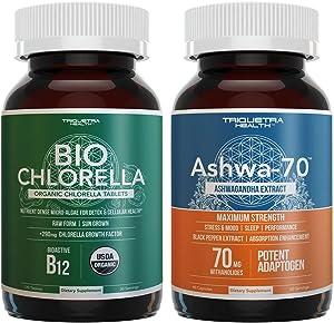 Ashwa-70 Ashwaghanda Extract, 35% Withanolide Concentration Plus Organic Chlorella Tablets