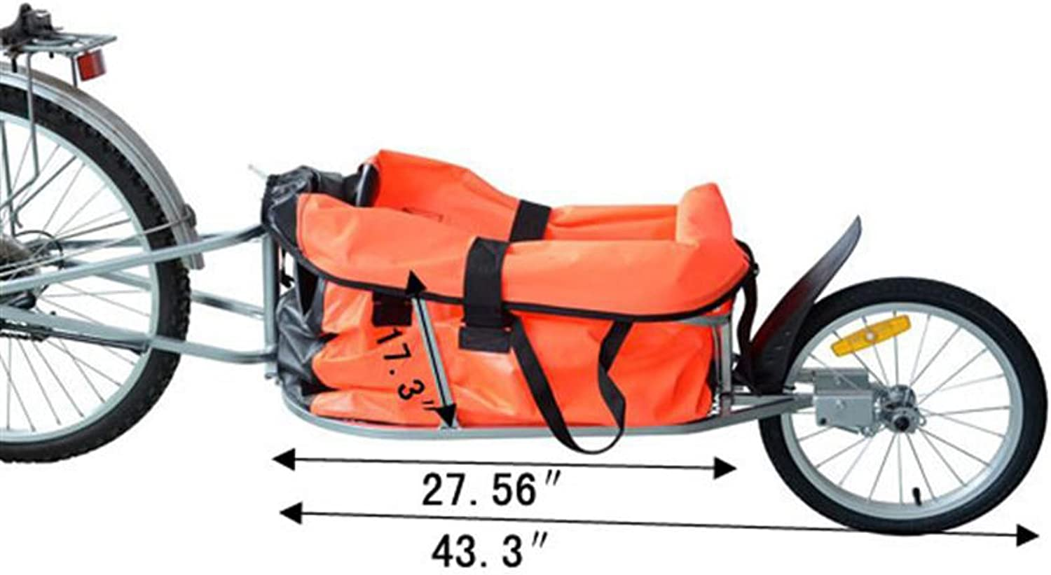 Aosom Solo Single-Wheel Bicycle Cargo Bike Trailer, Orange by ...