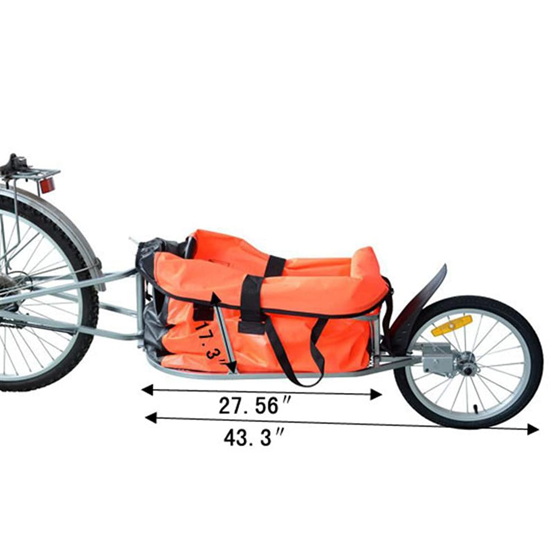 Aosom Solo Single-Wheel Bicycle Cargo Bike Trailer, Orange by Aosom ...
