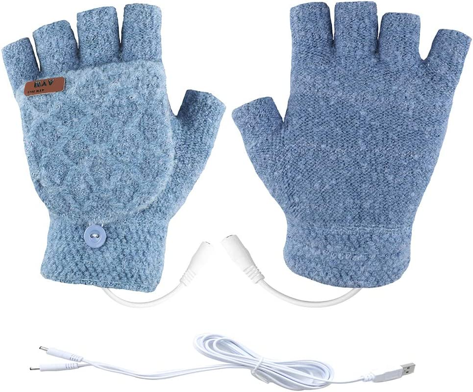 Unisex USB Heated Gloves Mitten Winter Warm Hands Knitting Heated Laptop Gloves,Half&Full Finger Mittens for Women Men Girls Boys- Best Winter Gift Choice (Light Blue)