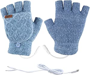 Unisex USB Heated Gloves Mitten Winter Warm Hands Knitting Heated Laptop Gloves,Half&Full Finger Mittens for Women Men Girls Boys- Best Winter Gift Choice (Light Blue)