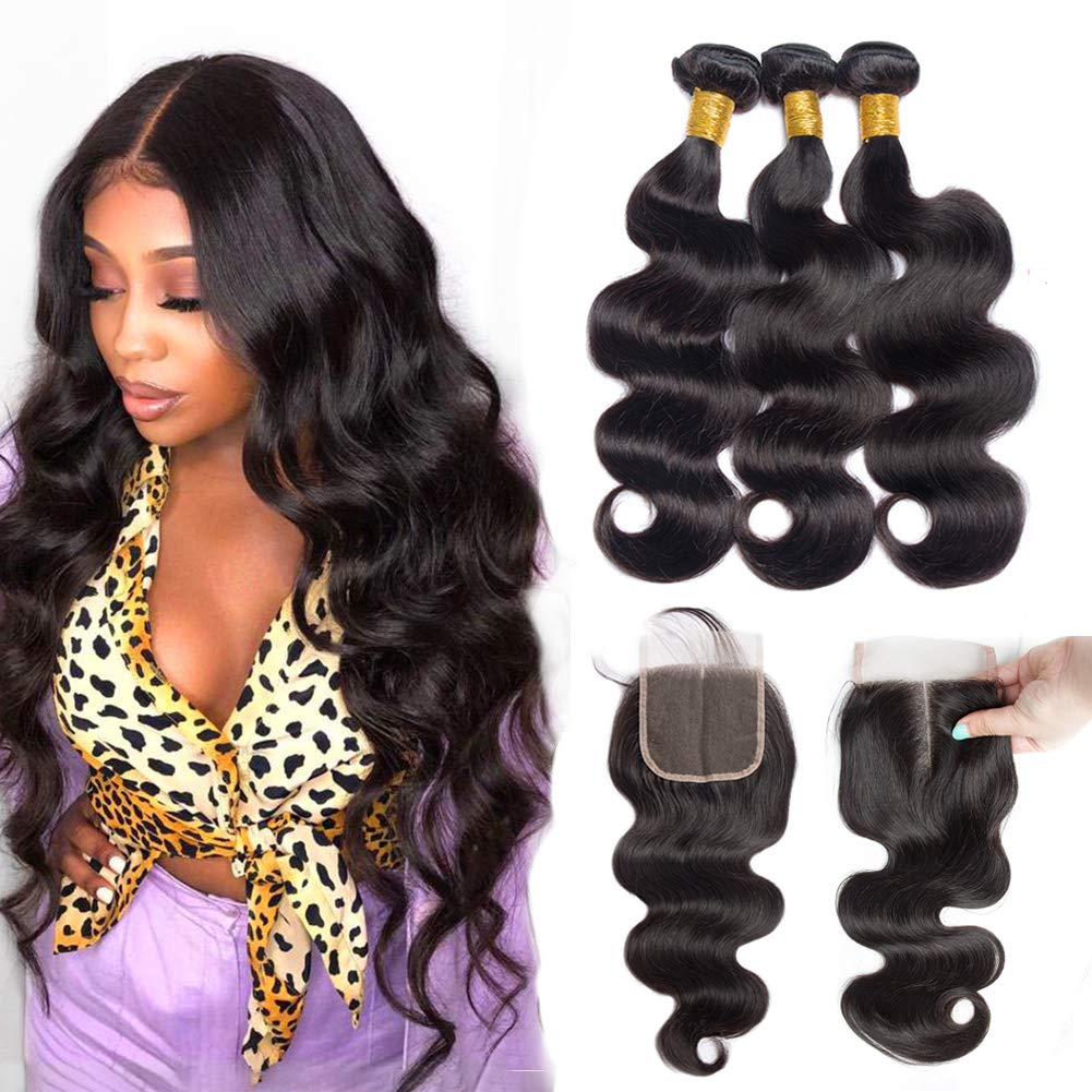 ALLRUN Brazilian Hair 3 Bundles with 18 20 Time sale 22+ Closure Body Wave SEAL limited product
