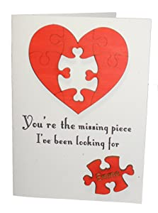Custom Engraved Real Wood Puzzle Heart Top Valentine Love Greeting Card Best Valentines Day Wedding Dating Wooden Anniversary Gift for Him Man Husband Boyfriend or Her Woman Wife Girlfriend Friend