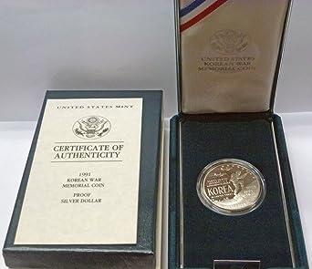 1991 US Mint Proof Korean War Commemorative Korea Silver Dollar Coin Box and COA
