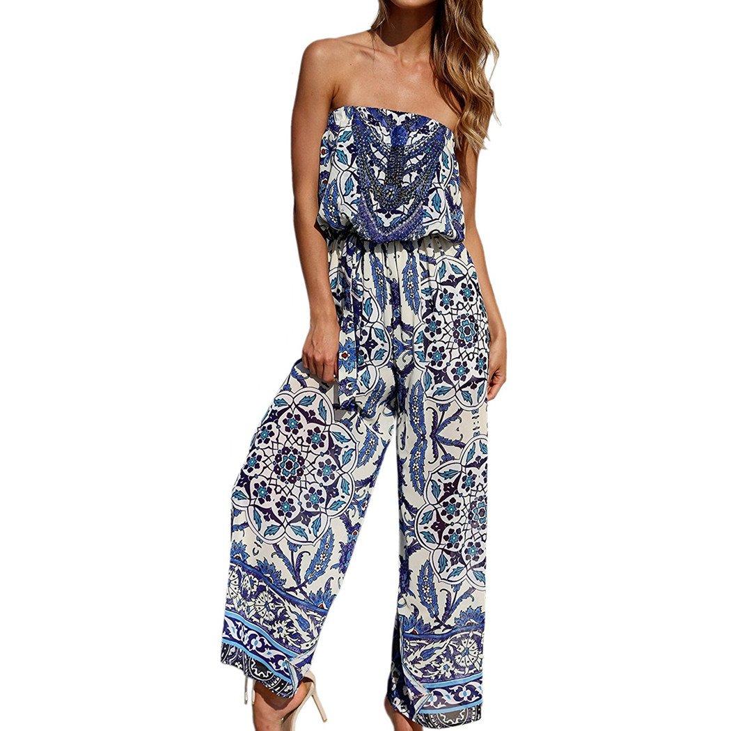 Women Jumpsuit, L'ananas Summer Off Shoulder Boho Foral Printed Strapless Playsuit Long Pantsuits (Blue, CN-M/US-4)