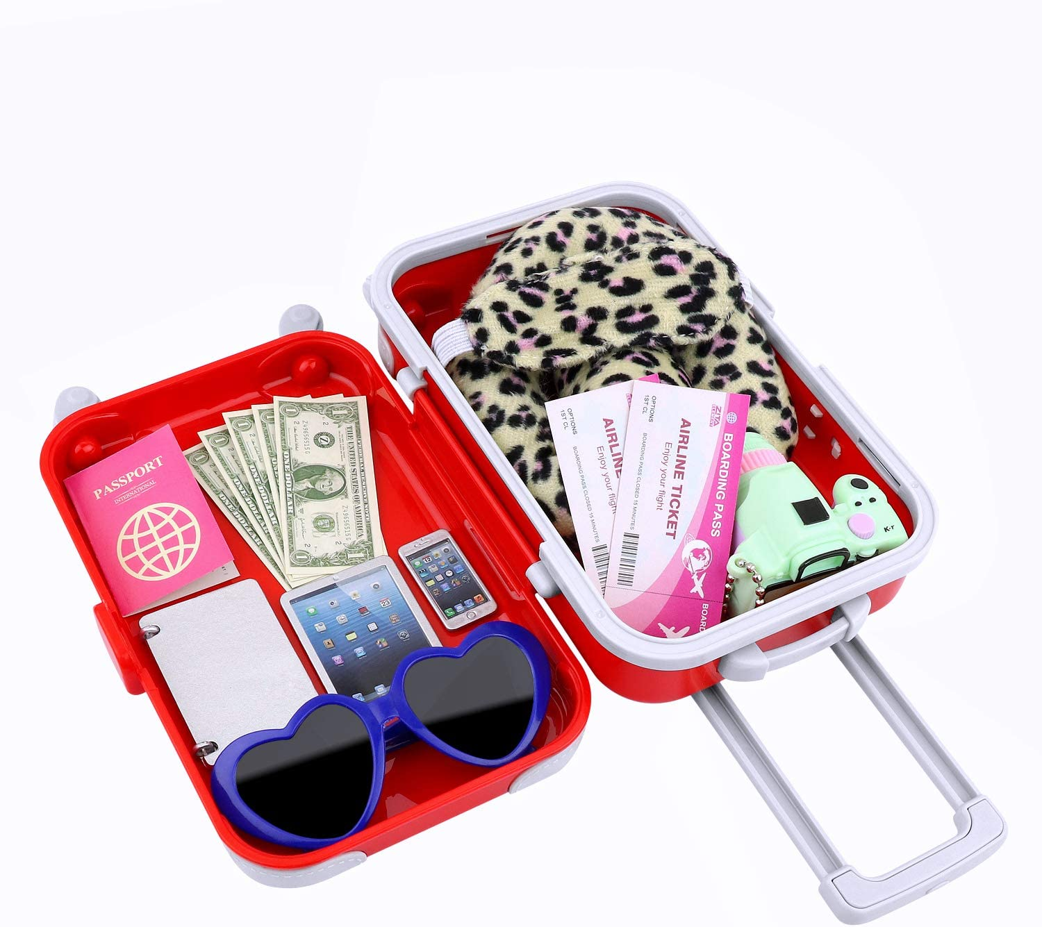 Ecore Fun 16 Pcs Doll Travel Suitcase Play Set for American 18 Inch Doll Including Doll Luggage Sunglasses Camera Computer Phone Pad Travel Pillow Blindfold Passport Tickets Cashes