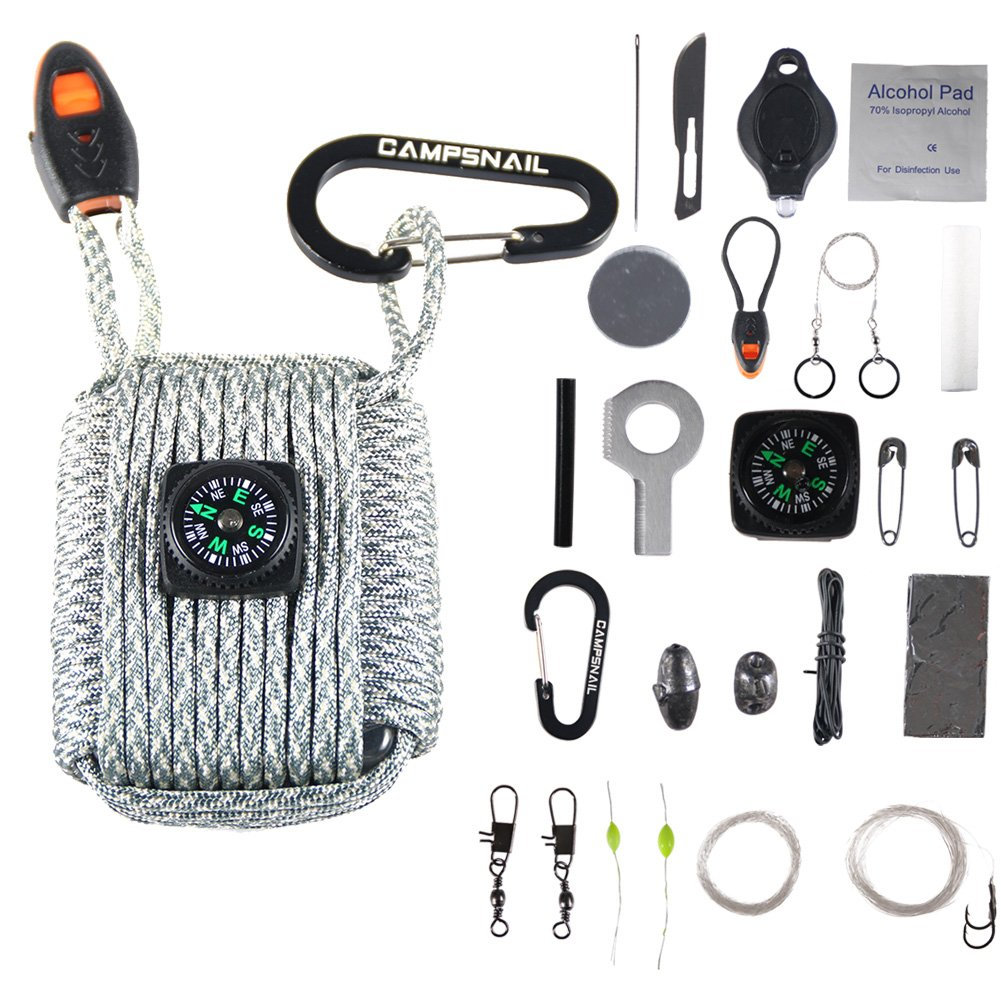 Campsnail 25 Accessories Emergency Survival Pod Kit wrapped in 550lb Survival Grenade Cord For Emergencies (Desert Camo)