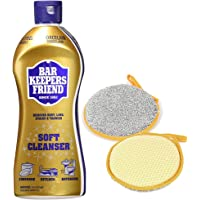 Bar Keepers Friend Soft Cleanser Liquid and Scouring Sponge | Multipurpose Stainless Steel Removes Rust, Lime, Stains…