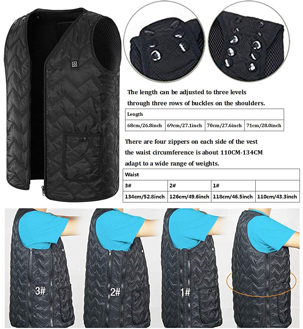 Heated Vest, Washable Size Adjustable USB Charging Heated Warm Vest for Outdoor Camping Hiking Golf Battery Not Included Black