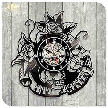 Txyang Salón De Tatuaje CD Creativo Disco De Vinilo Reloj De Pared 3D Arte Clásico Hecho A Mano Reloj De Decoración para El Hogar: Amazon.es: Hogar