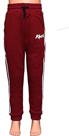 April Kids Jogging Pants for Boys and Girls for Ages About 6-8 Years Old Cotton Bottom Casual Trouser Sweatpants Stripe Jogger Red, M