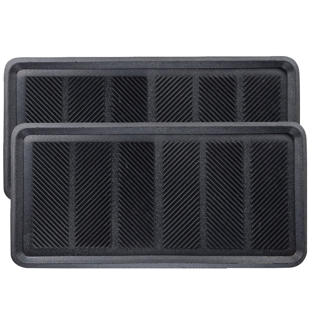 SafetyCare Heavy Duty Flexible Rubber Boot Tray Door Mat - 32 x 16 Inches - 2 Mats