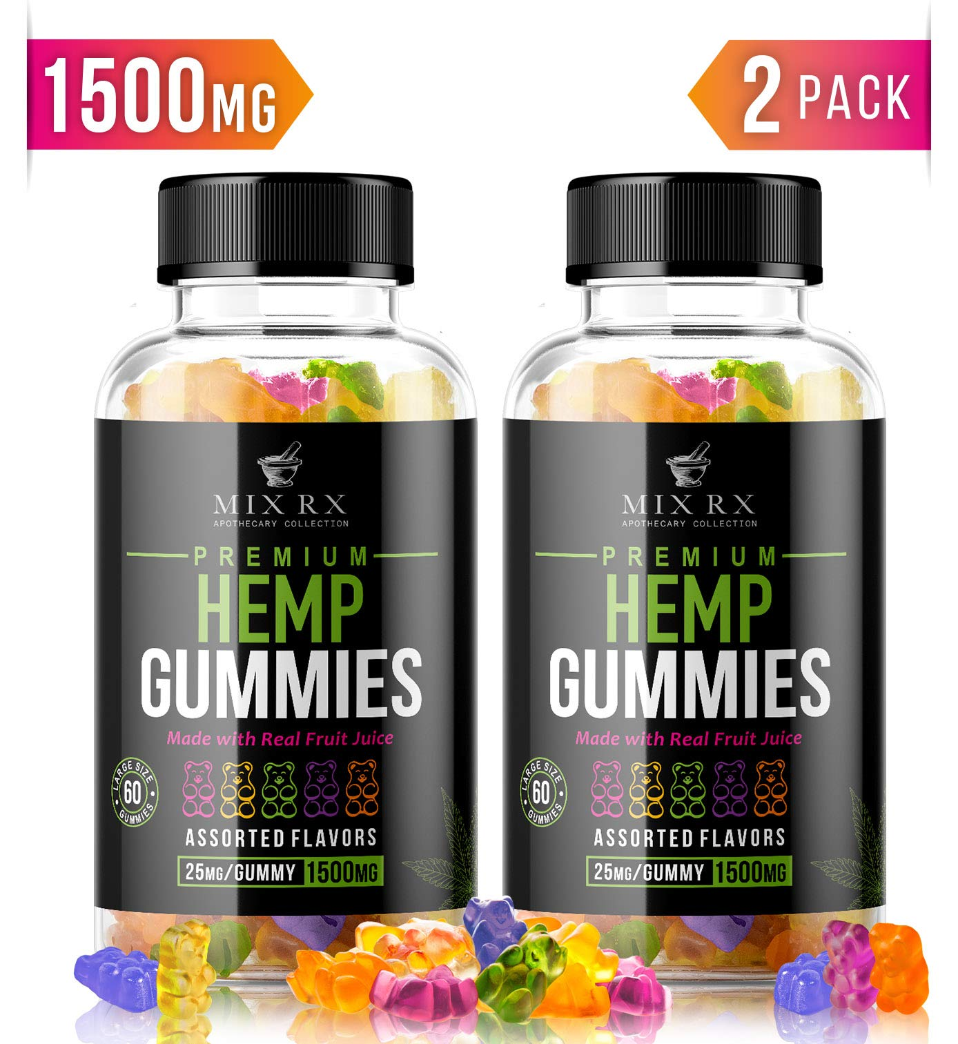 (120 Gummies | 1500mg) Hemp Gummies for Pain and Anxiety Restful Sleep, Natural Calm Hemp Oil Gummy Bears Vitamins Edibles Candy Supplements for Stress Relief - Giant Gummie Bears for Adults Kids by Mix Rx