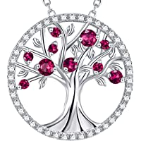 Mothers Day Jewelry Gifts for Mom Tree of Life Necklace May Birthstones Emerald Simulated Diamond Amethyst Aquamarine…