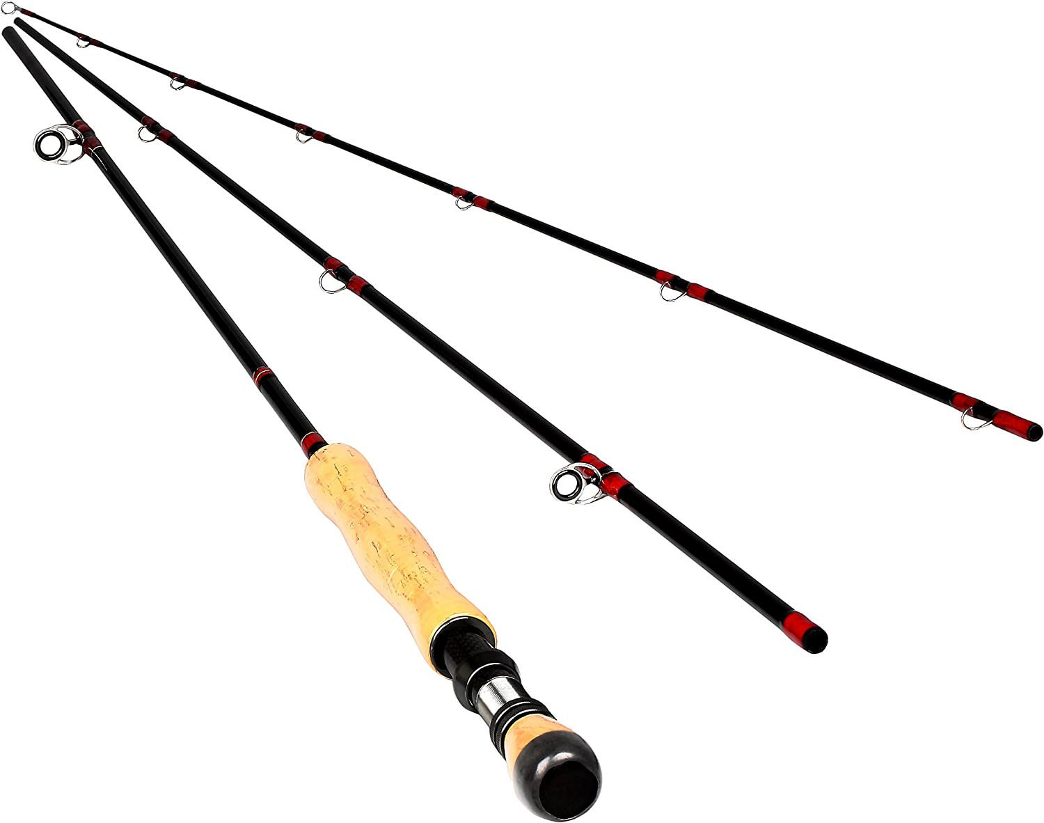 10/' # 3//4 Carbon Fly Fishing Rod Pole 4 Pieces Medium-Fast Action Light Feel