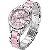 M.E Luxury Women Wrist Watch, Waterproof Quartz Watches for Women Ladies, Pink Tone Round Analog Stain Steel Watch, Fashion Watches for Date Party Causal Dress