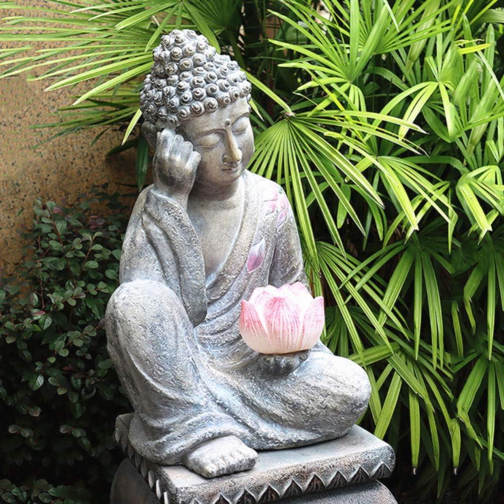 Amazon Com Zenggp Sitting Buddha Statue Solar Light Garden Decoration Meditating Buddha Solar Light Outdoor Statue Garden Outdoor
