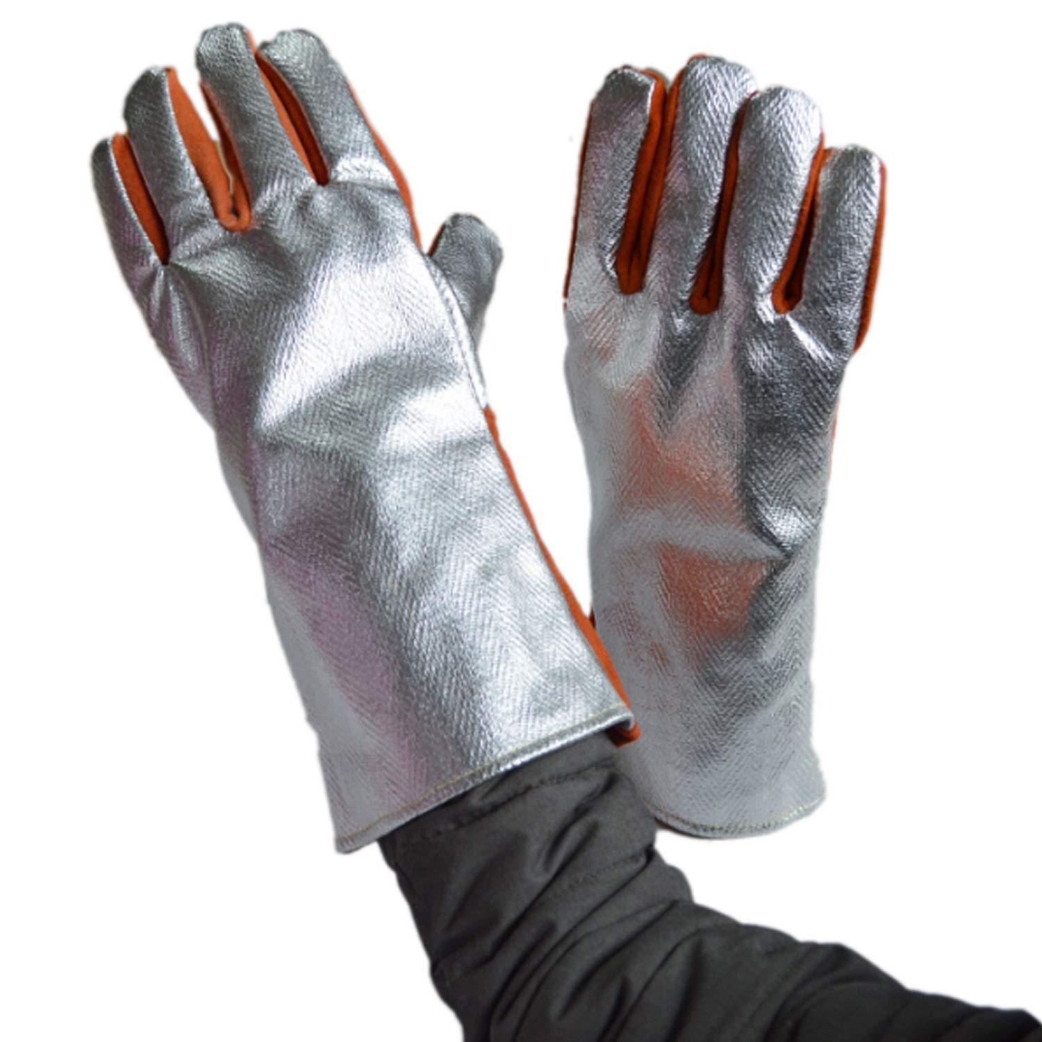 VAXT Conduct 932° Extreme Heat Tolerant Gloves Welding Gloves Aluminum Foil Fiber Kitchen BBQ Gloves Oven Mitts (Color : Orange, Size : M) by VAXT