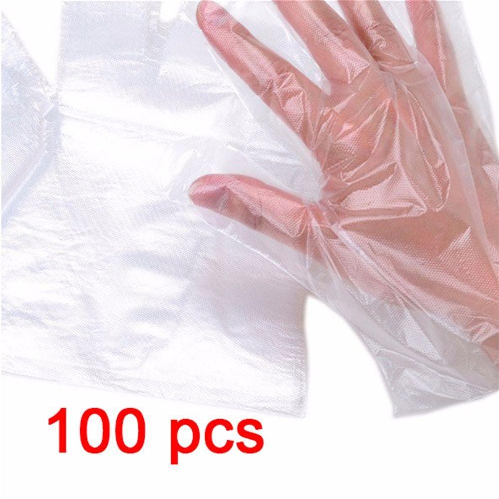 Monlonen 100 Pcs/1000 Pcs Thick Restaurant BBQ Transparent Plastic Food-grade Disposable Gloves One Time Using