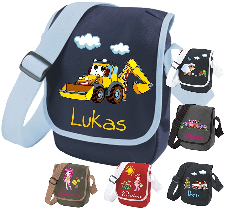 Kindergartentasche mit Namen & Wunsch-Motiv dunkelblau/hellblau BabYsABC