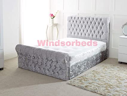 check out 25e18 53a22 Stylish Designer Chesterfield CRUSHED VELVET Bed Frame 3FT ...