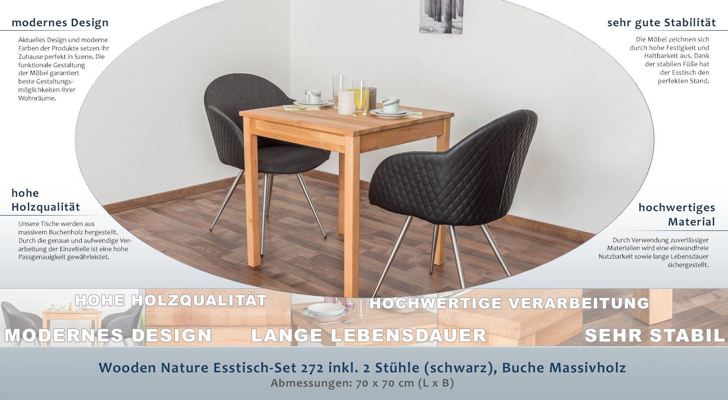Wooden Nature Esstisch-Set 272 inkl. 2 Stühle (schwarz), Buche ...