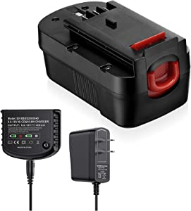 Replacement Battery with Charger for Black+Decker, 3700mAh Battery Compatible with HPB18-OPE/HPB18/A1718/FS18FL/FSB18/Firestorm + Power Tools, with 9.6V-18V Multiple Volt Output Battery Charger
