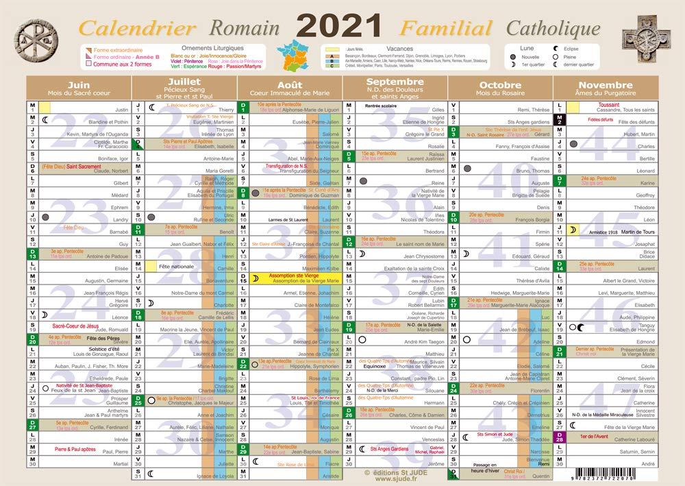 Calendrier Catholique 2022 Amazon.fr   Calendrier familial Catholique 2021   A3   Saint Jude