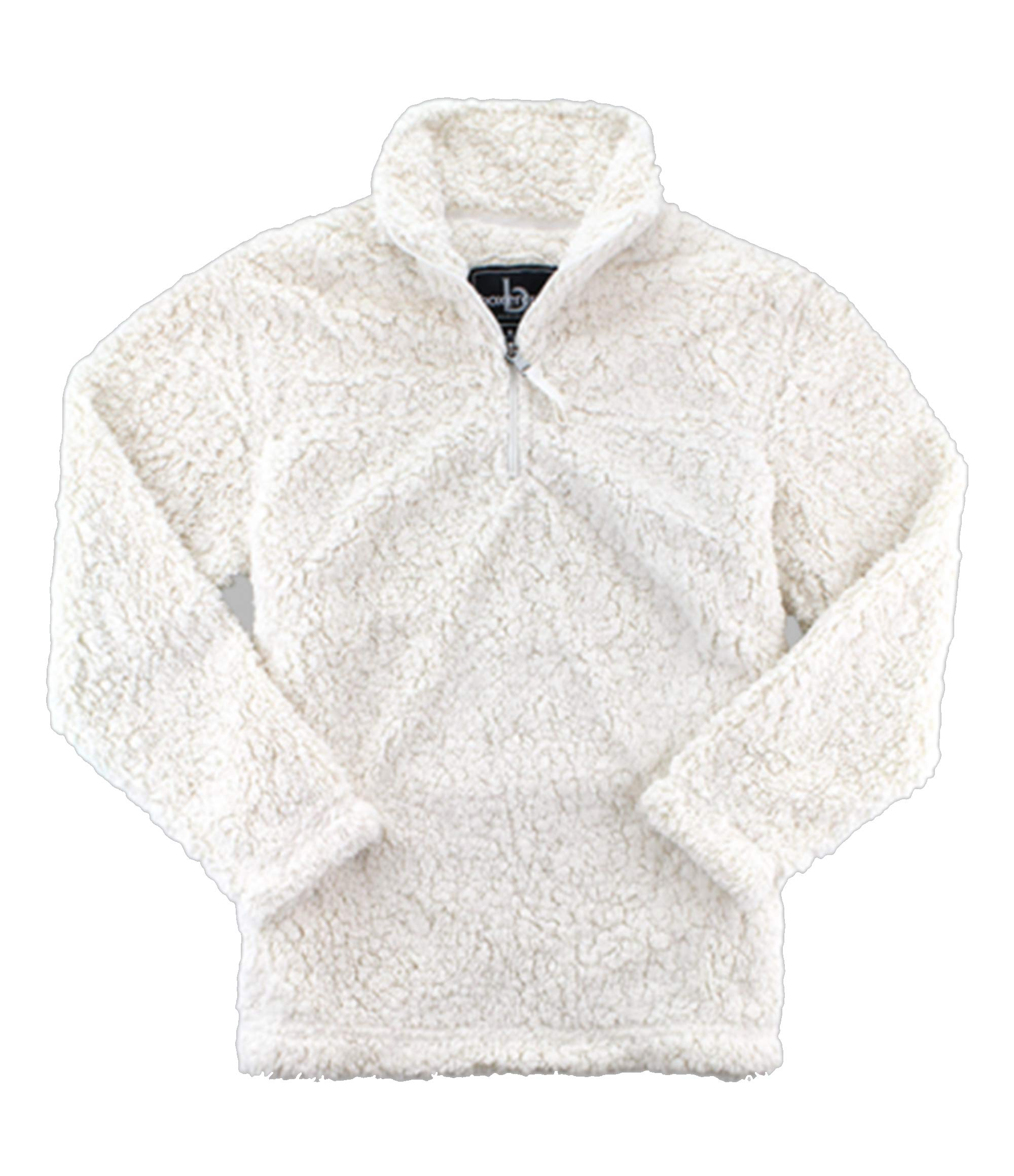 boxercraft Adult Quarter Zip Sherpa Pullover-Natural-Large