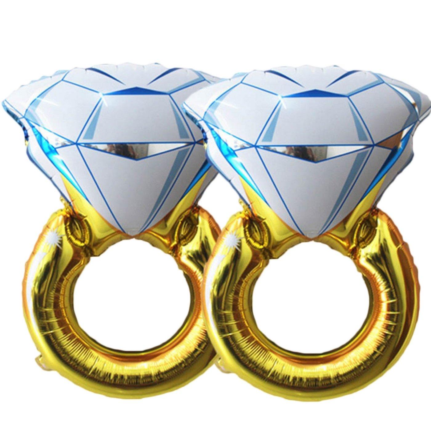 Set of 2 Giant 45'' Diamond Engagement Ring Mylar Balloons for Proposal Vow Renewal Valentine's Day Bridal Shower Wedding Bachelorette Parties Decoration. Huge Bling Favor. Extra Large Party Statement.