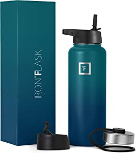 Iron Flask Sports Water Bottle - 14oz,18oz,22oz,32oz,40oz,64oz,3 Lids (Straw Lid),Vacuum Insulated Stainless Steel, Modern Double Walled, Simple Thermo Mug, Hydro Metal Canteen
